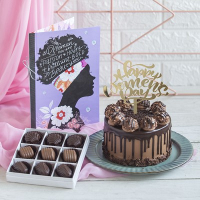 Ferrero Rocher chocolate cake 750gms with Happy Women,s Day Topper, Box of 9 Pralines and a Card