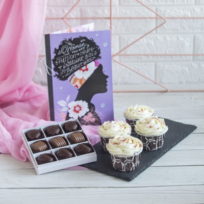 4 Red velvet Cup Cakes , Box  of 9 chocolate  Pralines and a Card