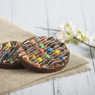 Chocolate Hazelnut Cookie With M & M (100gms)  in a Box
