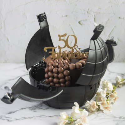 Chocolate Nutties Overloaded Cake In A Bomb shell With Fabulous 50 Topper 900gms