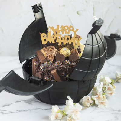 Chocoholics Overloaded Cake In A Bomb Shell With Birthday Topper