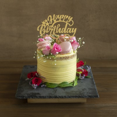 Toffee Caramel with French Vanilla  Buttercream fresh pink roses and macarons 800gms with Happy Birthday Topper