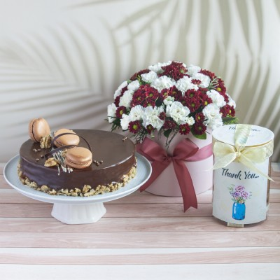 Saint Domingo Caramel And Walnut Cake With Box Of White Chrysanthemums And White Spray Carnations And Thank You Cookie In A Jar