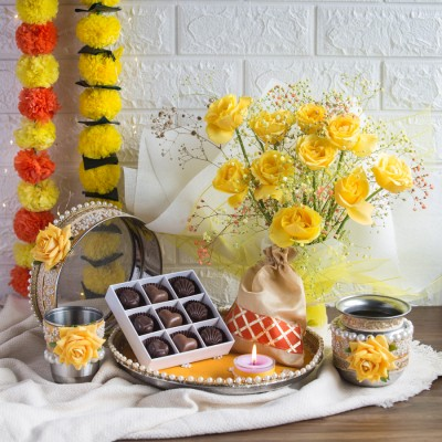 Karwa Chauth Pooja Set ,Box of 9pcs Chocolate pralines, Flavored Almonds in Potli  and Bouquet of Yellow Roses