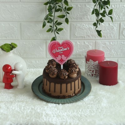 Ferrero Rocher chocolate cake 750gms with heart shape pink valentines day topper