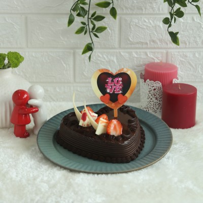 Heart Shape Strawberry Chocolate cake 500gms with Black heart love topper