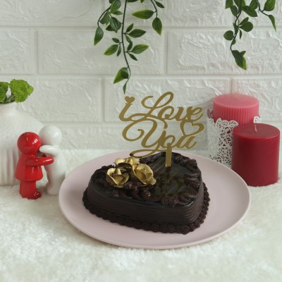 Heart Shape Dutch Truffle cake 500gms with I LOVE YOU topper