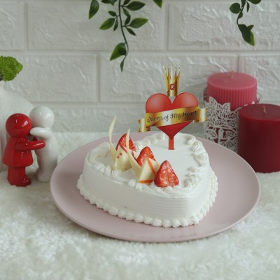 Heart Shape Strawberry French Cream Cake 500gms with Queen of my Hearts Topper