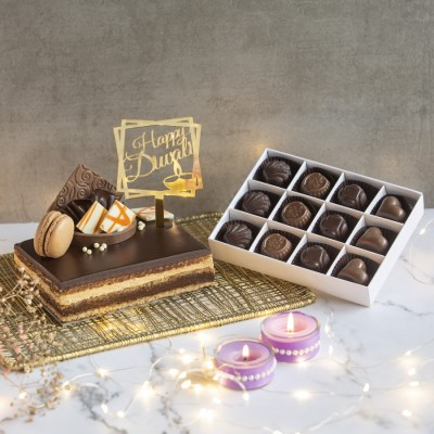 Coffee Opera With Happy Diwali Topper And Box Of 12 Chocolate Pralines