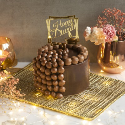 Chocolate Nutties Overloaded Cake With Happy Diwali Topper