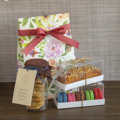 Floral bag with swedish oatmeal Cookies box of 5 macarons ,almond bar cake [Contains Egg]