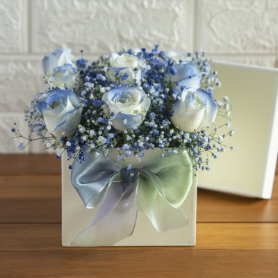 Purple Roses With Baby Breath In A Box