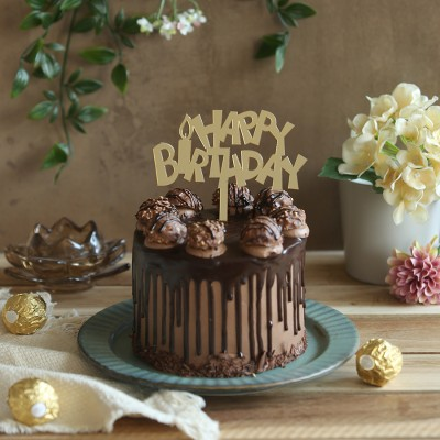 Ferrero Rocher Chocolate Cake  750gms with Happy Birthday candle  topper