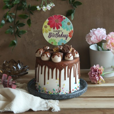 Chocolate Snickers Cake with Floral  happy birthday topper