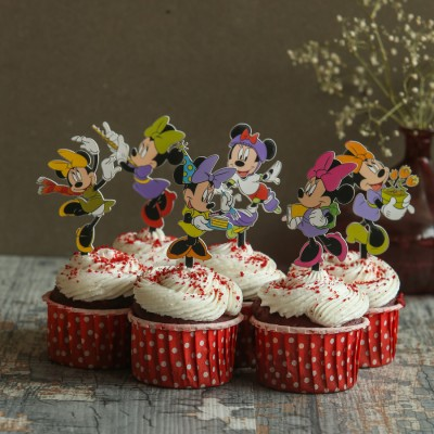 Red velvet cup cakes with Minnie Mouse  Toppers 6pcs