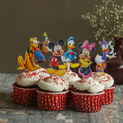 Red velvet cup cakes with Mickey and Friends Toppers 6pcs
