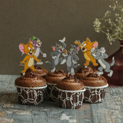 Chocolate Cupcakes with Tom And Jerry Toppers