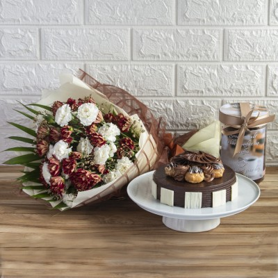 Chocolate Choux Buns Cake with Exemplary Hand Bouquet And Cookie Jar