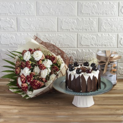 Cherry Black Forest Cake with Exemplary Hand Bouquet And Cookie Jar