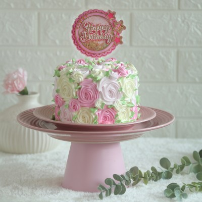 Colourful Rosette cake	750gms with happy birthday pink star topper