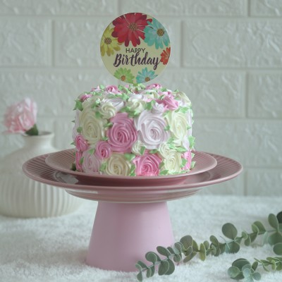Colourful Rosette cake	750gms with happy birthday floral topper