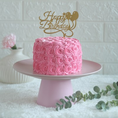Pink Rosette cake 750gms	with happy birthday balloon topper