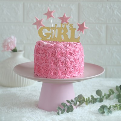 Pink Rosette cake 750gms	with its a girl topper