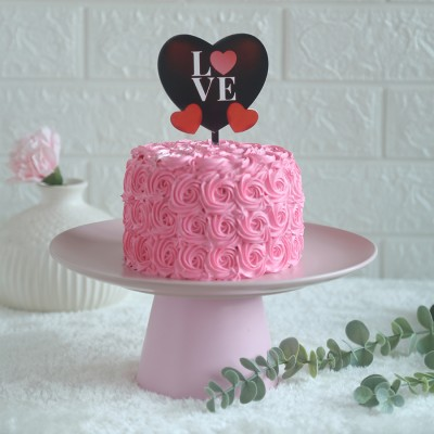 Pink Rosette cake 750gms	with love hearts  topper
