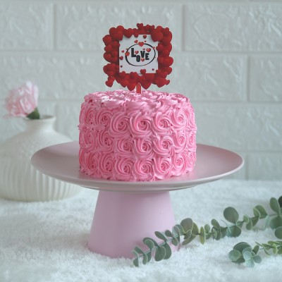 Pink Rosette cake 750gms	with love hearts in square topper