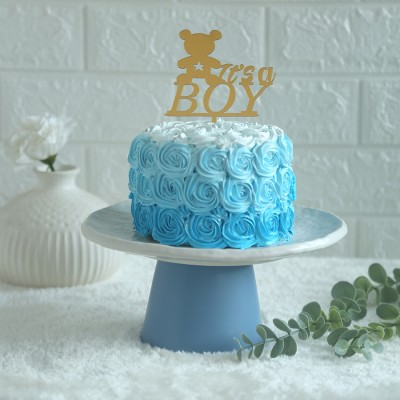 Blue Rosette cake 750gms	 with its a boy topper