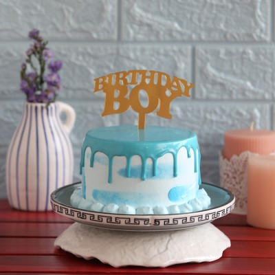 Blue Frosting Cake with Birthday Boy  Topper 750gms