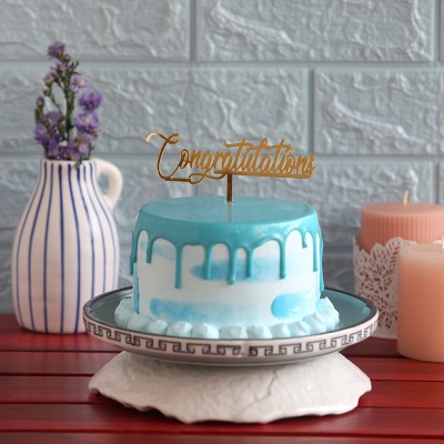Blue Frosting Cake with Congratulations  Topper 750gms