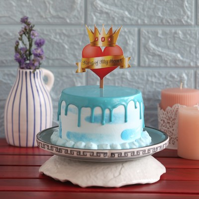 Blue Frosting Cake with  750gms King of my heart topper