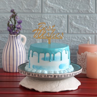 Blue Frosting Cake with Best Wishes Topper 750gms