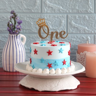 Red  and blue stars cake(750gms) with ONE topper