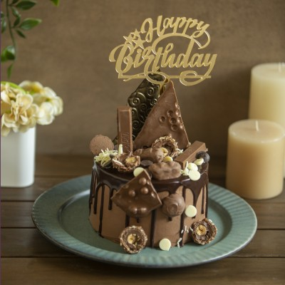 Chocoholic Overloaded Chocolate Cake 800gms with Happy Birthday Topper