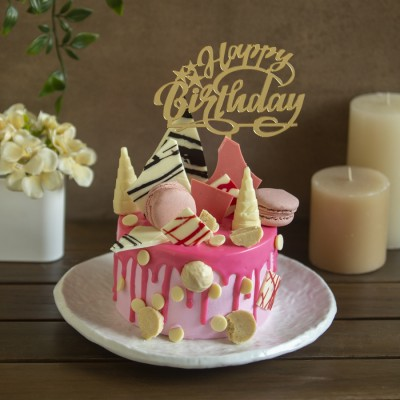 Pink Blush Macaron & White Chocolate Overloaded cake 750g with Happy Birthday topper