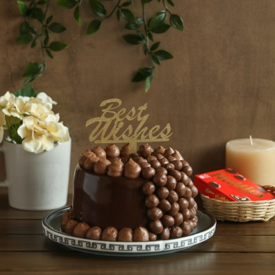 Nutties Overloaded Chocolate cake 750gms with Best Wishes topper