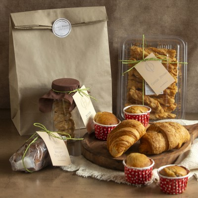 Coffee walnut Cake,Butter Cookies,Cheese Straws, Blueberry muffins, Cheese paprika croissants(2pcs)  Contains Egg