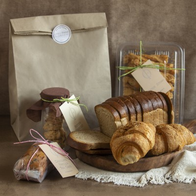 Brown Bread, Cheese croissants(2pcs),Butter Cookies,Cheese Straws, Chocolate Vanilla Cake