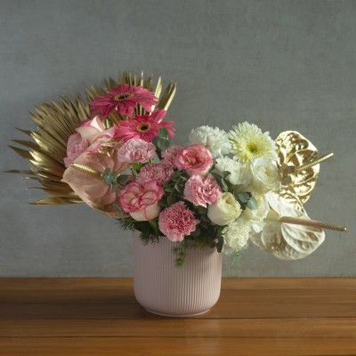 Cheerful Arrangement of Pink Carnations, Jumelia white roses, Gerberas and anthroniums