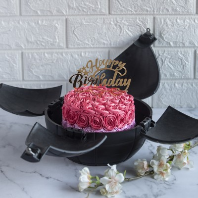 Shaded Pink Rosette Cake With Happy Birthday Topper In a Bomb Shell 750gms