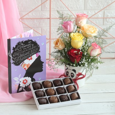 Woman's day Box of 12 Chocolate pralines, Arrangement of mix Roses in a mug & Greeting card