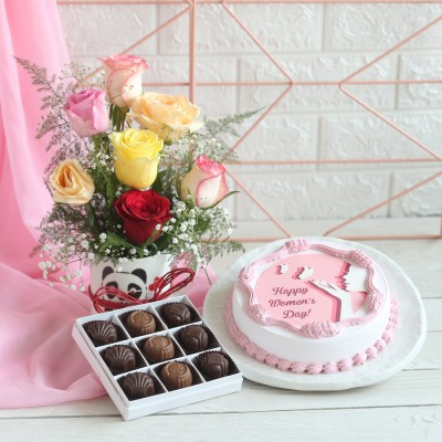 Women's day Photo cake, Box of 12 Chocolate pralines, Arrangement of mix Roses in a mug