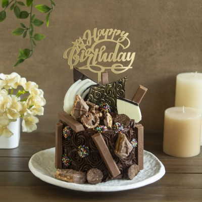 Chocolicious Overloaded Chocolate Cake 1kg with Happy Birthday Topper