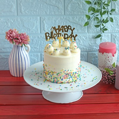 Rainbow Cake with Happy birthday Topper