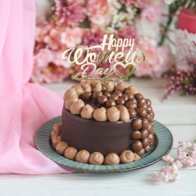 Women's Day Nutties Overloaded Chocolate Cake 750gms with Happy Women's day Topper