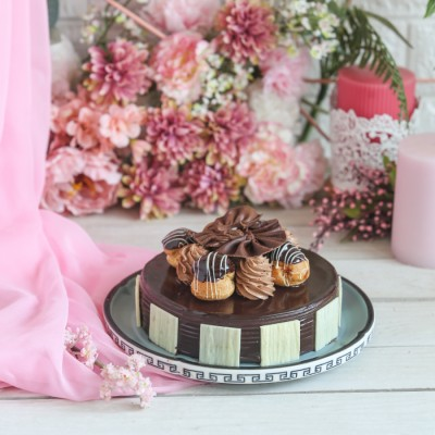 Women's Day Chocolate Dutch truffle Choux bun  Cake