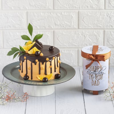 Orange And Chocolate Overloaded  Cake With Happy Birthday To You Cookie Jar