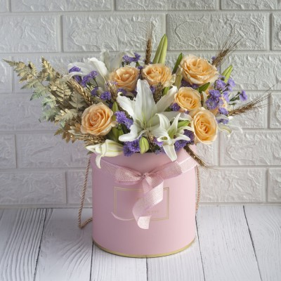Beautiful Big Box Of lilies, Purple Daisies And golden wheat